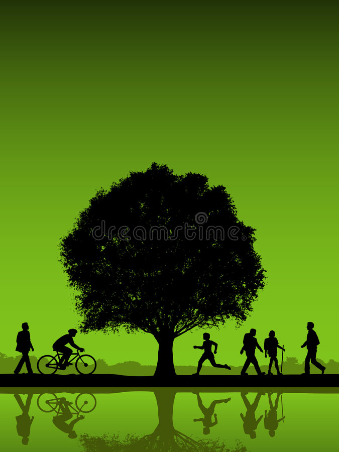 Download Active people outdoors stock vector. Image of lake, green - 6572349