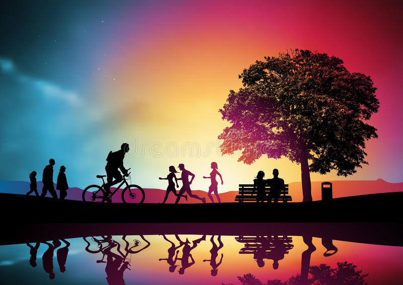 Active People In A Park vector illustration