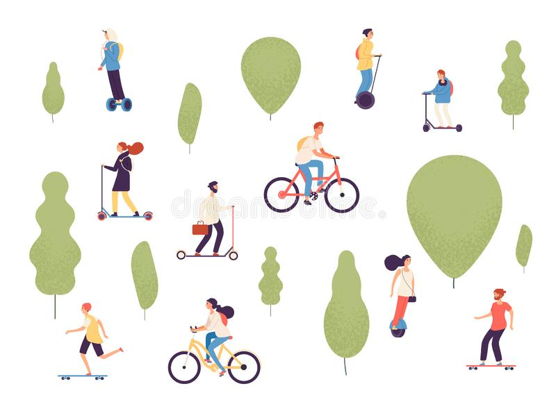 Active people in park. Man woman kids riding electric vehicles bike skateboard skate bicycle roller gyroscooter outdoor. Vector park. Woman and man ride by royalty free illustration
