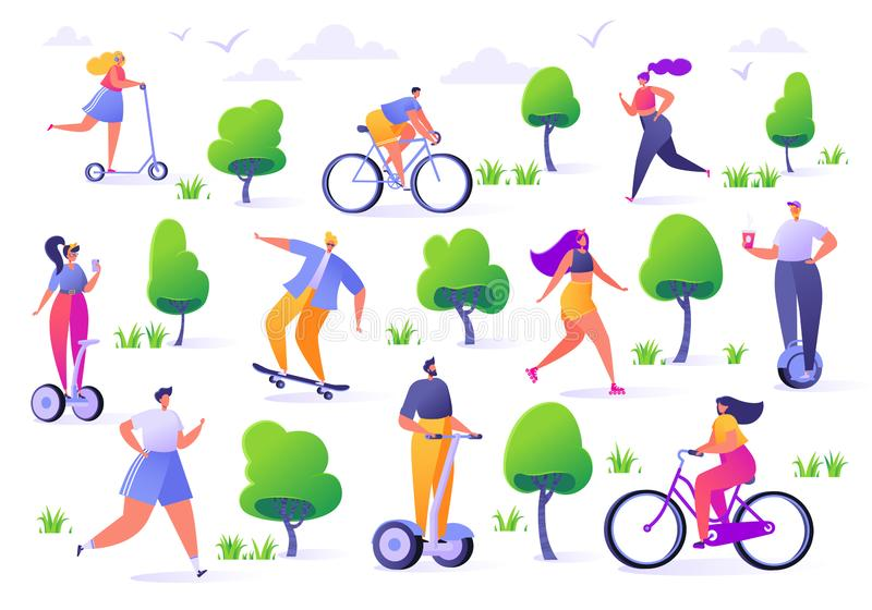 Active people in the park. Summer outdoor. Man and woman characters running, riding bicycle, skateboarding, roller skates, fitness. Flat design characters with vector illustration