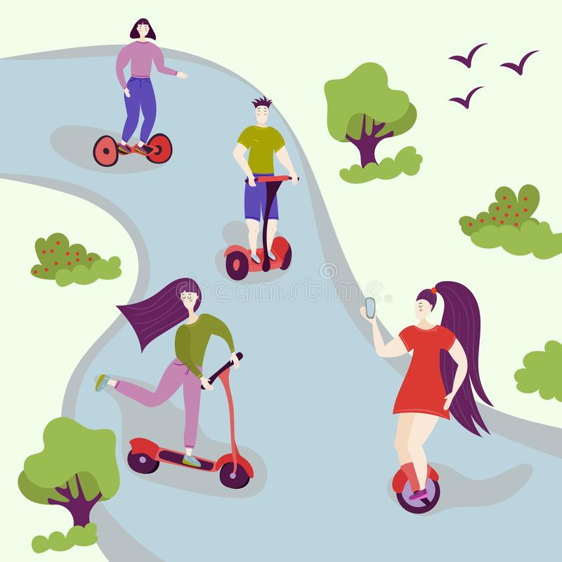 Active people in the park. Summer or spring outdoor city activity. Man and woman characters on hover board, segway, kick scooter. Flat modern trendy design stock illustration