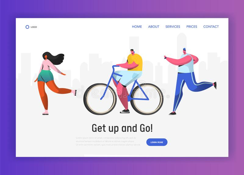Active people sports landing page template vector illustration