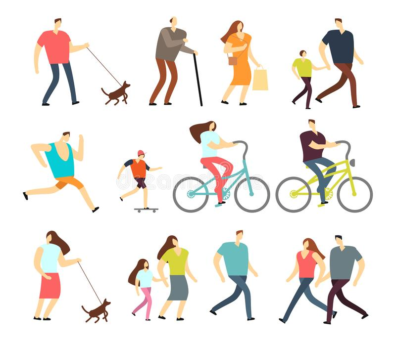Active people walking, riding bike, running outdoor vector character set. Ride bike and activity lifestyle walking and sport jogging illustration stock illustration