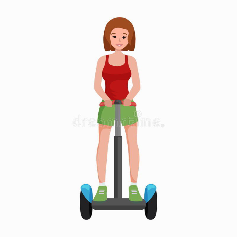 Active peoples fun with electric scooter, new modern technology hoverboard, woman self balance wheel transport. Active peoples fun with electric scooter, family vector illustration