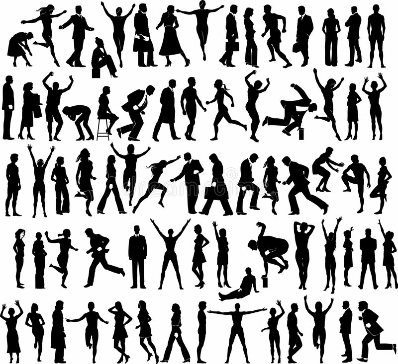 Active pople silhouettes royalty free illustration