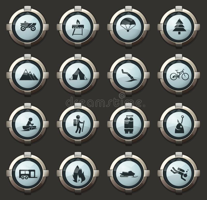 Active recreation icons. Active recreation vector stylish round buttons for mobile applications and web stock illustration