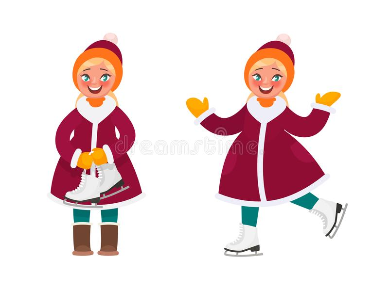 Active rest in winter. The girl ice skates vector illustration