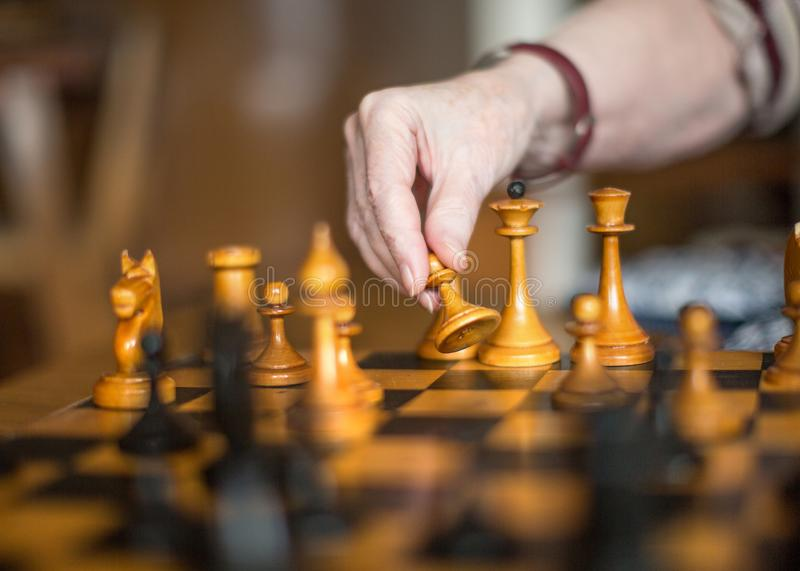 Active retired persons, hand of old woman holding chess piece stock photo