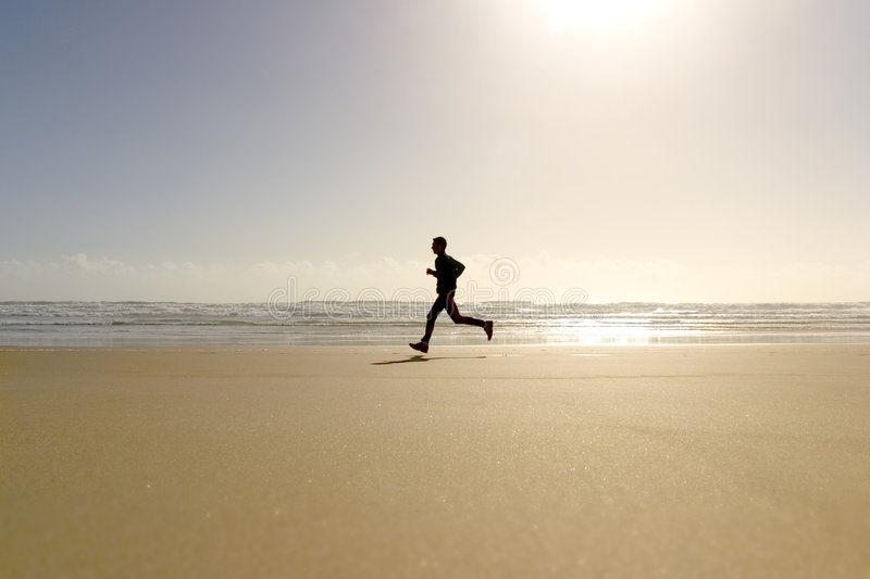 Active Run Man Beach stock images