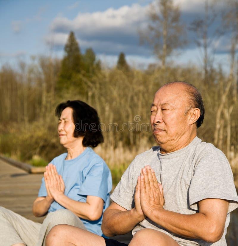 Active senior asian couple royalty free stock image