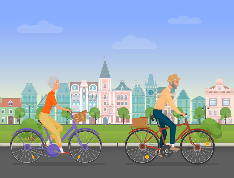 Active senior character, age travelers. Old age retired tourists couple. Elderly people riding on a bicycle near old royalty free illustration