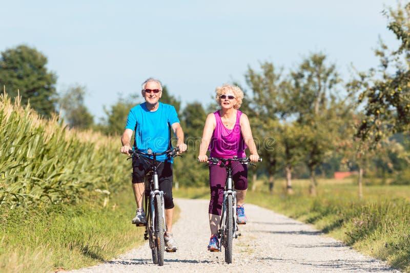 Active senior couple enjoying retirement while riding bicycles i royalty free stock photos