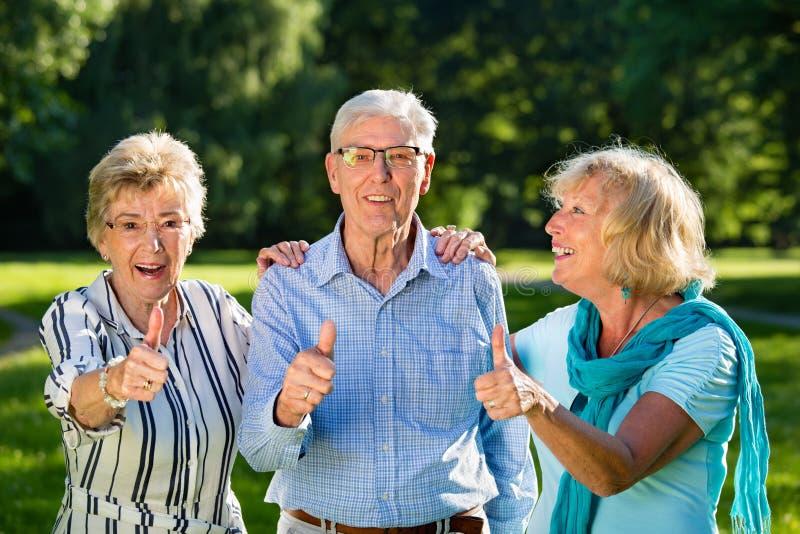 Active senior friends stock images