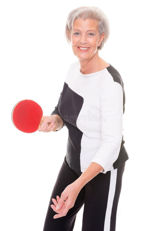 Active senior woman stock image