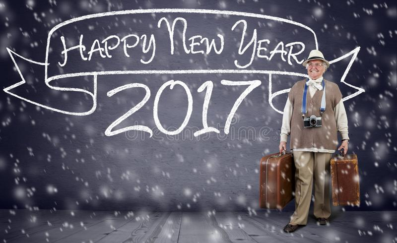 Active senior woman traveling for new year royalty free stock images