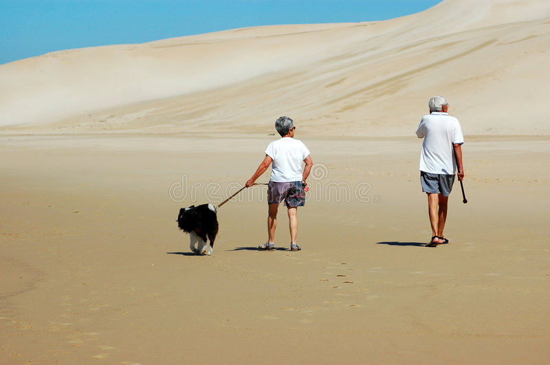 Active seniors. An elderly caucasian retired senior couple walking with their dog on the beach in summer