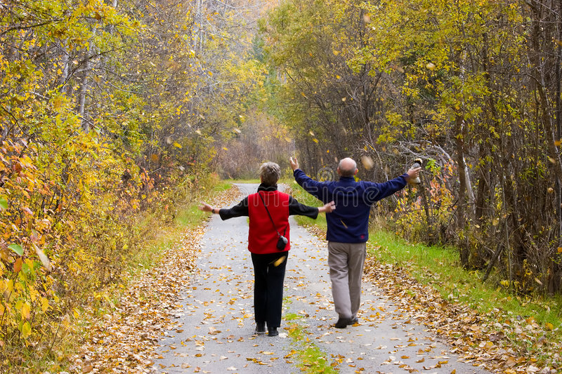 Active seniors. Two active seniors (mature adults) walk through falling leaves on country path with arms outstretched. Various colors of autumn leaves fall royalty free stock images