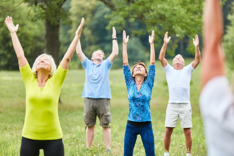 Active seniors in healthy stretching. Active seniors doing healthy stretching in a rehabilitation fitness course in summer royalty free stock photo