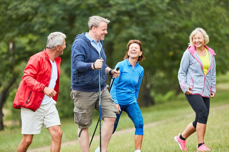 Active seniors in a hiking group. Traveling together in nature stock images