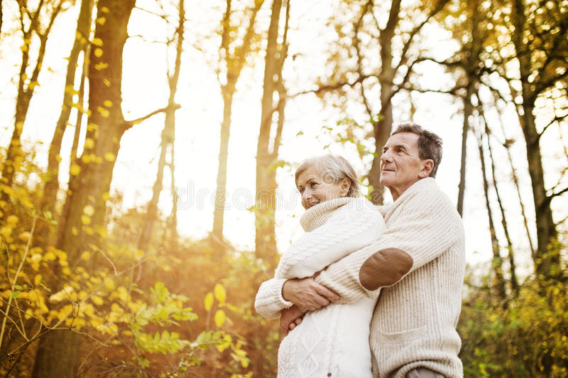 Active seniors taking walk in nature stock images
