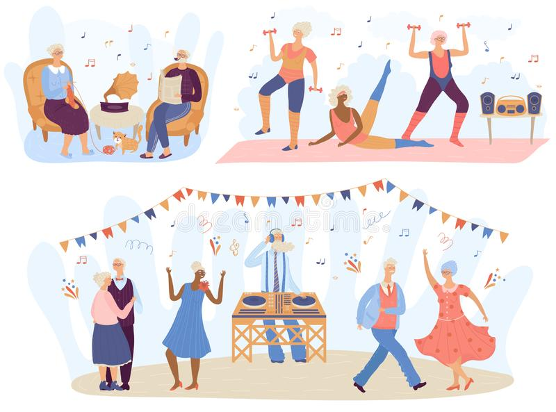 Active seniors vector elderly people training in gym, old man and woman listening to music and dancing together stock images