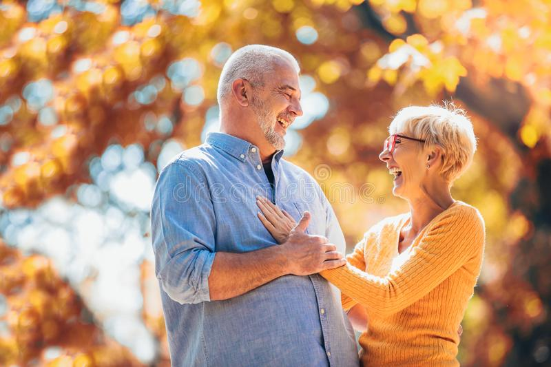 Seniors on a walk in autumn forest. Active seniors on a walk in autumn forest royalty free stock images