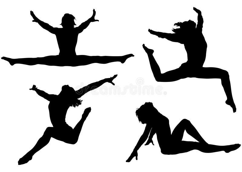 active silhouettes kvinnan royaltyfri illustrationer