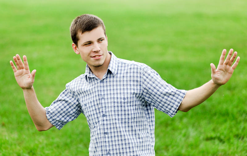 Active smiling young man royalty free stock images