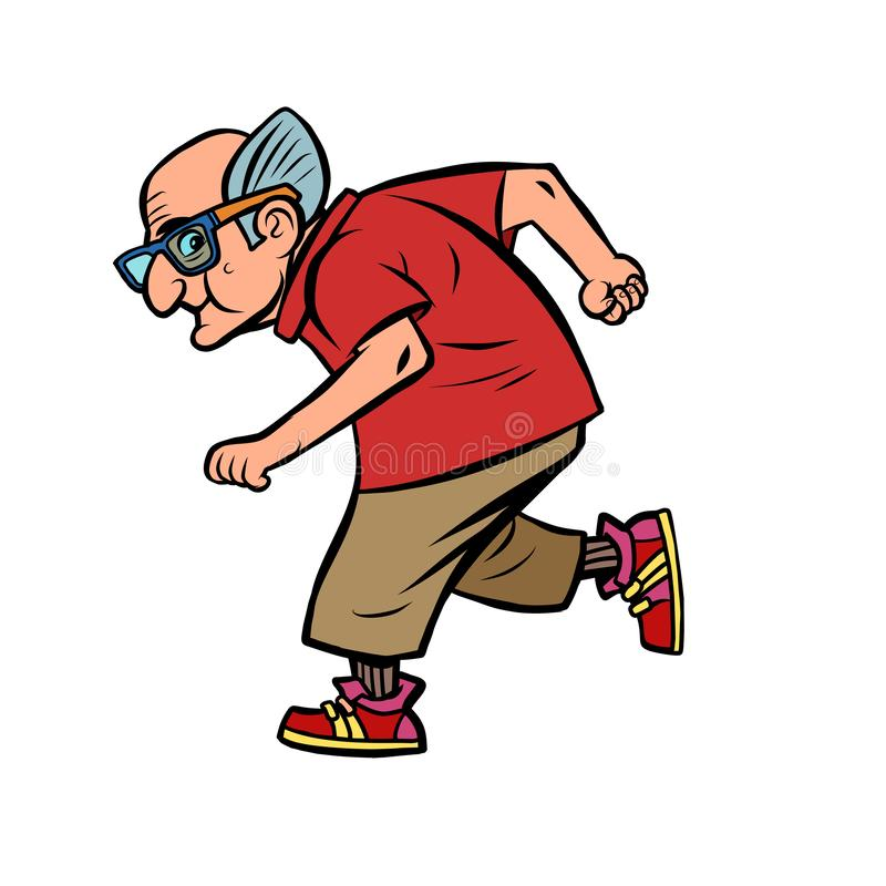 Active sports old man runner royalty free illustration