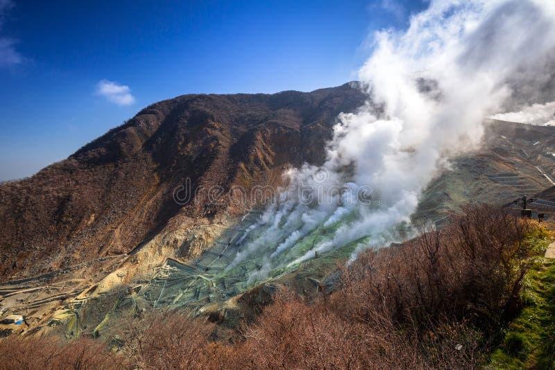 Active sulphur vents of Owakudani at Fuji volcano royalty free stock photo