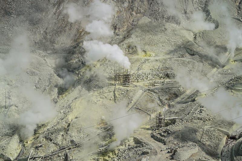 Active sulphur vents of Owakudani at Fuji volcano, Japan royalty free stock image