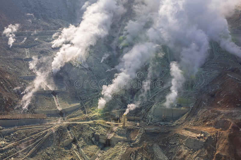 Active sulphur vents of Owakudani, Japan royalty free stock photography