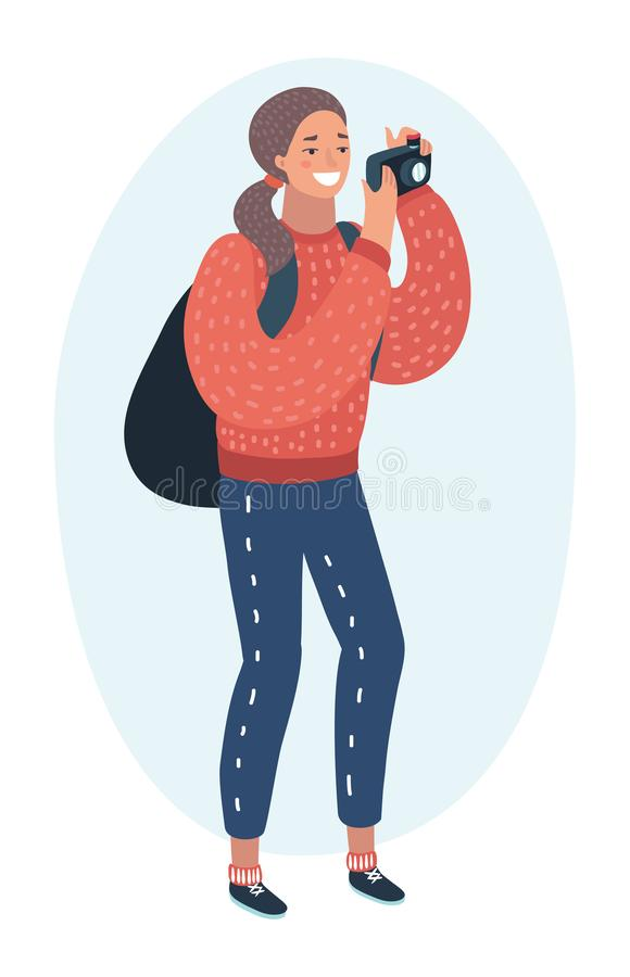Active tourist senior woman with backpack taking photo using camera colorful character. Vector cartoon funny illustration of active tourist. Young woman with royalty free illustration