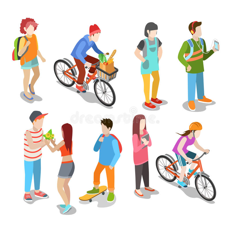 Active urban young casual street people flat 3d is royalty free illustration