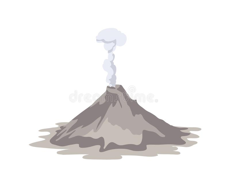 Active volcano erupting and emitting smoke cloud from crater isolated on white background. Spectacular volcanic eruption. Natural disaster or hazard. Colored royalty free illustration