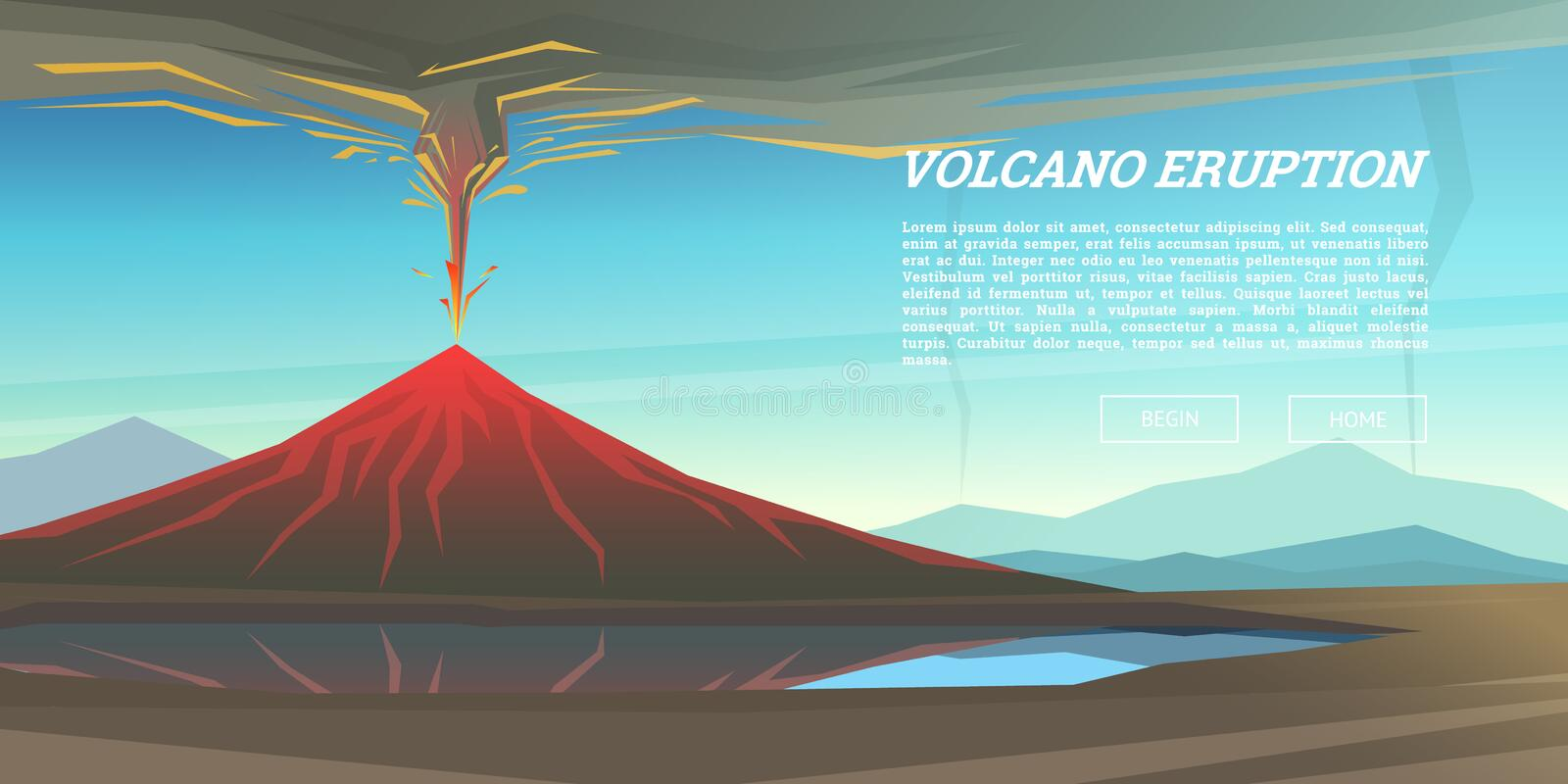 Active volcano eruption with leaky magma Background. Natural disaster or cataclysm. Blowing up in the park. Fuming lava stock illustration