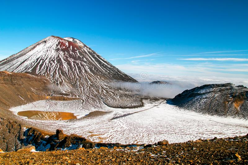 Majestic volcanic valley, the Devil`s Staircase and famous Mount Ngauruhoe, Spectacular scenic view from South Crater, Tongariro stock photography
