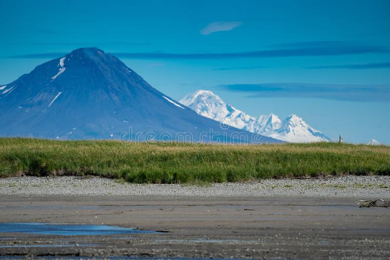 Active volcano on Katmai National Park in Alaska royalty free stock photography