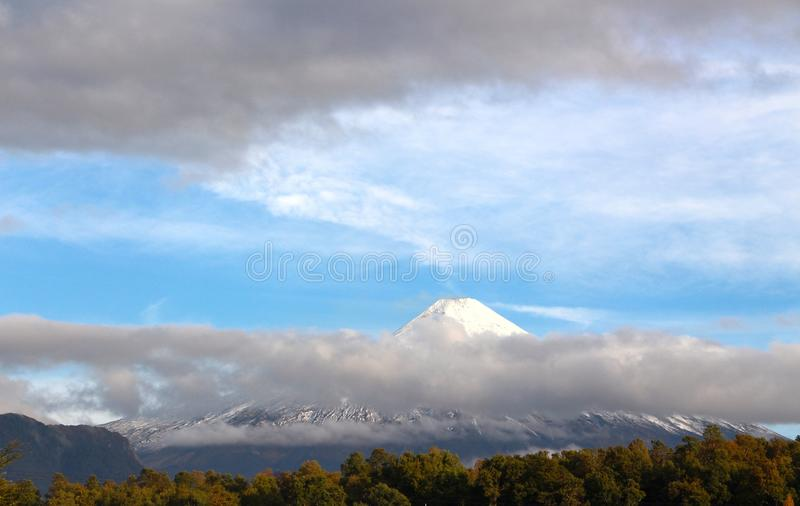 The active volcano Villarrica stock photo