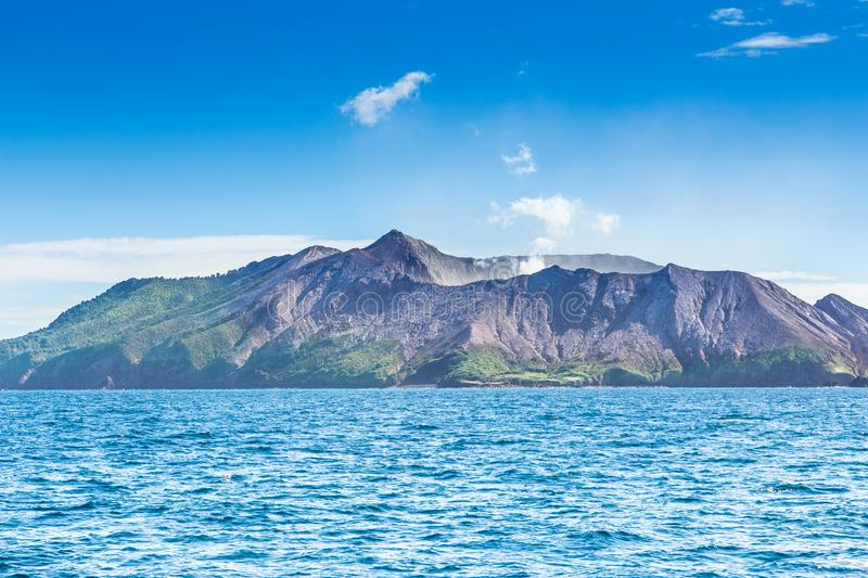 Active Volcano at White Island New Zealand. Volcanic Sulfur Crater Lake. Oceania royalty free stock photography