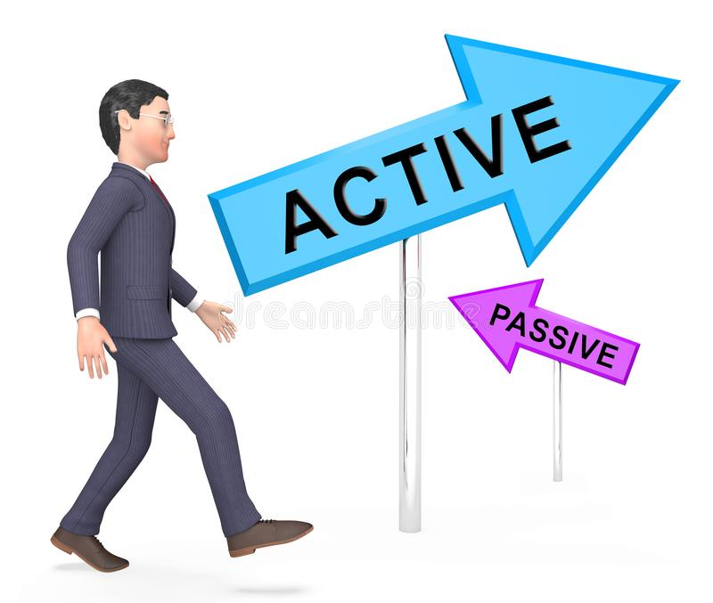 Active Vs Passive Signposts Show Positive Attitude 3d Illustration. Active Vs Passive Signposts Show Positive Energy Attitude Or Negative Laziness royalty free illustration