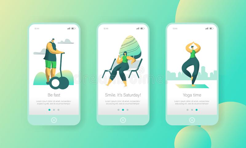Active Weekend Lifestyle Mobile App Page Onboard Screen Set. Man Ride Hoverboard, Woman Meditate Yoga. And Relax on Bench in Park Concept for Website or Web stock illustration