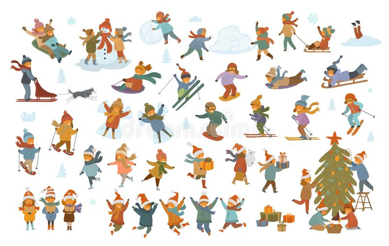 Active winter and merry christmas children, boy and girls making snowman snow angel, play, sledding, ice skating, skiing vector illustration