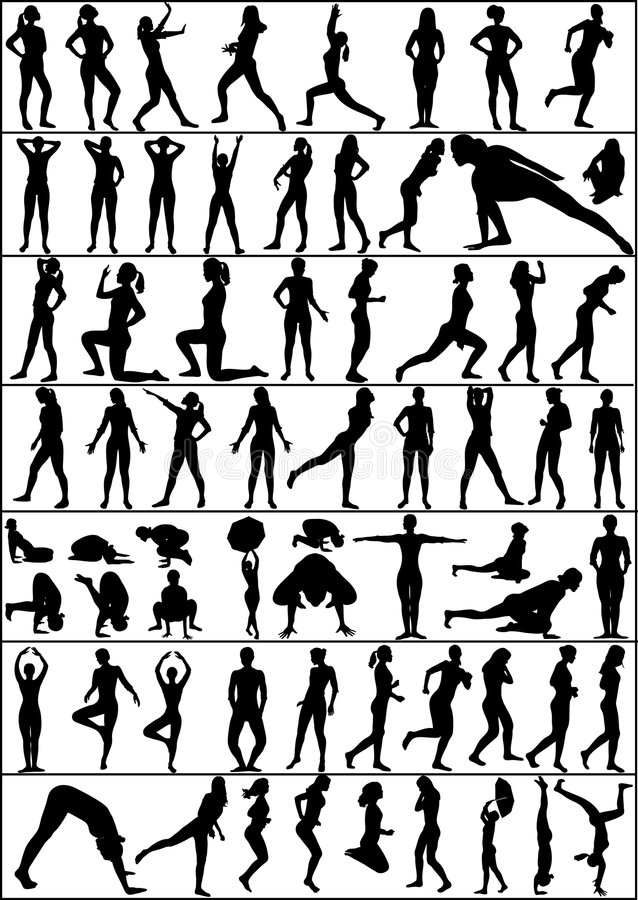 Active woman. Collection of people silhouettes - active woman stock illustration