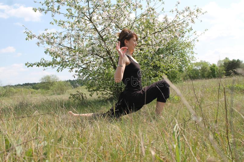 Active woman. Beautiful active flexible woman made yoga class on the nature stock photo