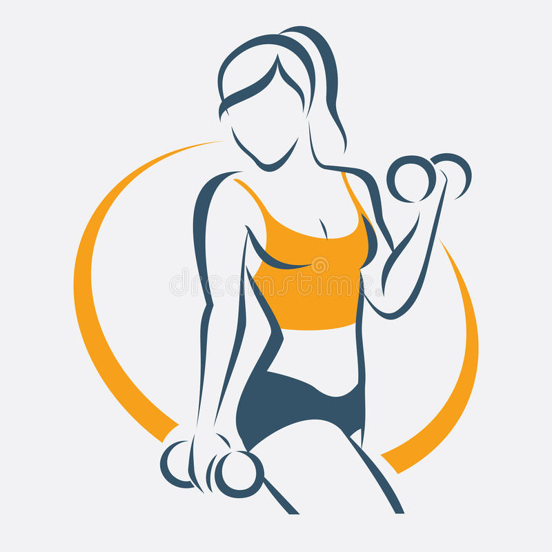 Active woman doing fitness symbol. Sport concept royalty free illustration
