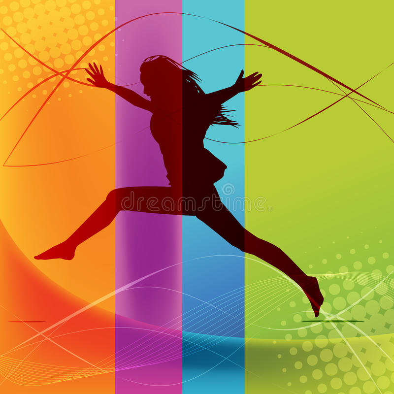 Active Woman. Happy active woman silhouette jumping ,colorful abstract concept royalty free illustration