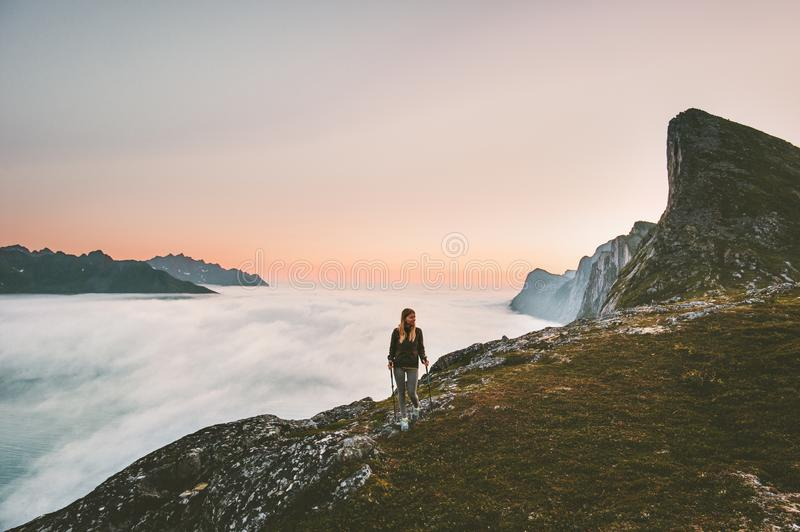 Active woman hiking in mountains outdoor royalty free stock photos