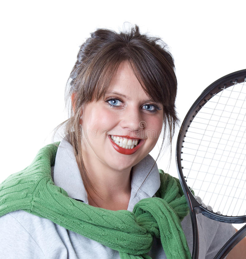 Download Active Woman With A Tennis Racquet Stock Photo - Image of close, polo: 10566670