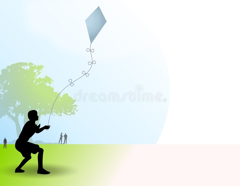 Active Young Boy Flying Kite vector illustration